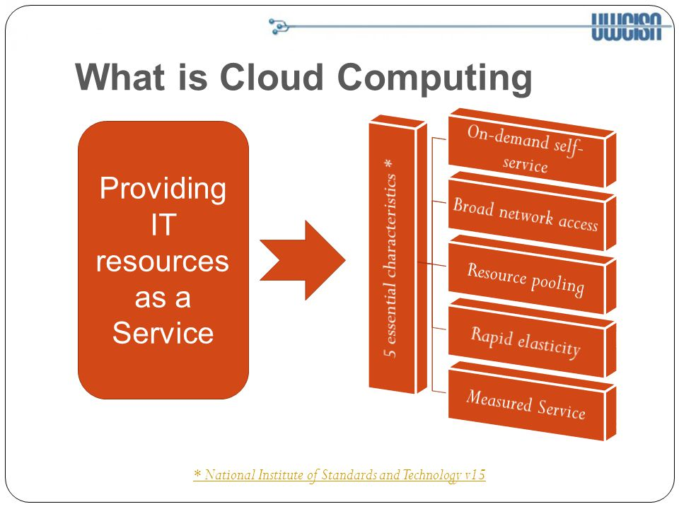 What is Cloud Computing * National Institute of Standards and Technology v15 Providing IT resources as a Service