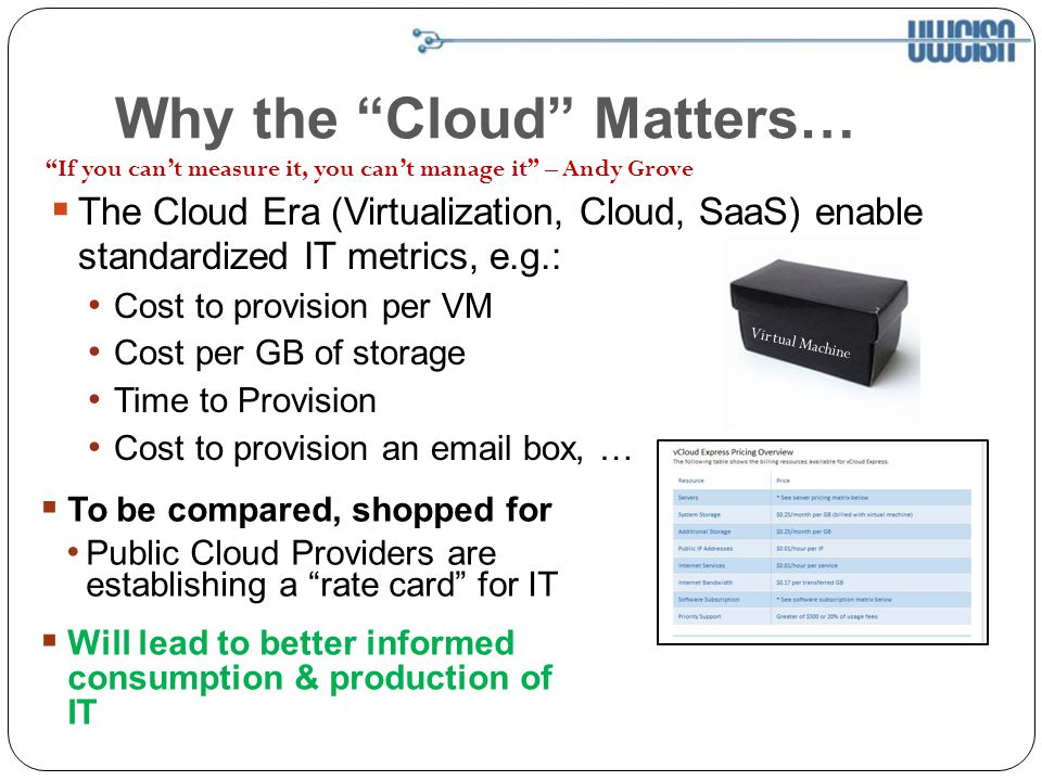 Why the Cloud Matters… The Cloud Era (Virtualization, Cloud, SaaS) enable standardized IT metrics, e.g.: Cost to provision per VM Cost per GB of storage Time to Provision Cost to provision an email box, … If you cant measure it, you cant manage it – Andy Grove To be compared, shopped for Public Cloud Providers are establishing a rate card for IT Virtual Machine Will lead to better informed consumption & production of IT