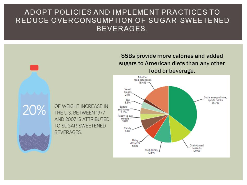 ADOPT POLICIES AND IMPLEMENT PRACTICES TO REDUCE OVERCONSUMPTION OF SUGAR-SWEETENED BEVERAGES.