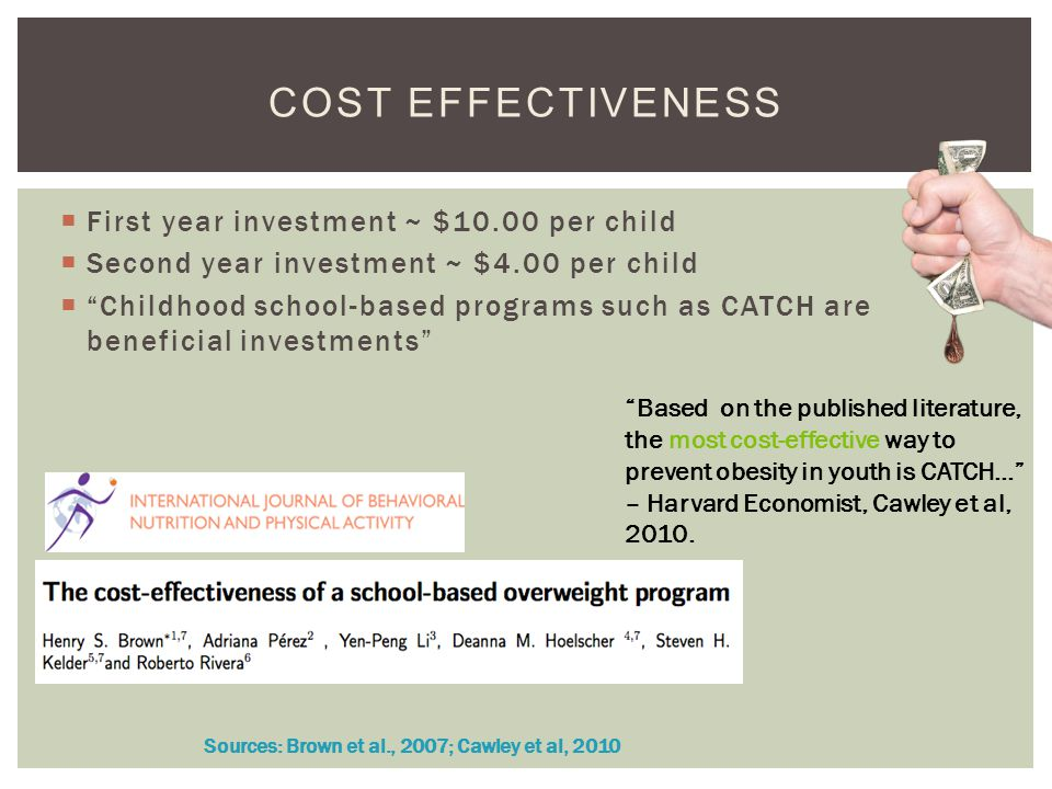 First year investment ~ $10.00 per child Second year investment ~ $4.00 per child Childhood school-based programs such as CATCH are beneficial investments COST EFFECTIVENESS Sources: Brown et al., 2007; Cawley et al, 2010 Based on the published literature, the most cost-effective way to prevent obesity in youth is CATCH… – Harvard Economist, Cawley et al, 2010.