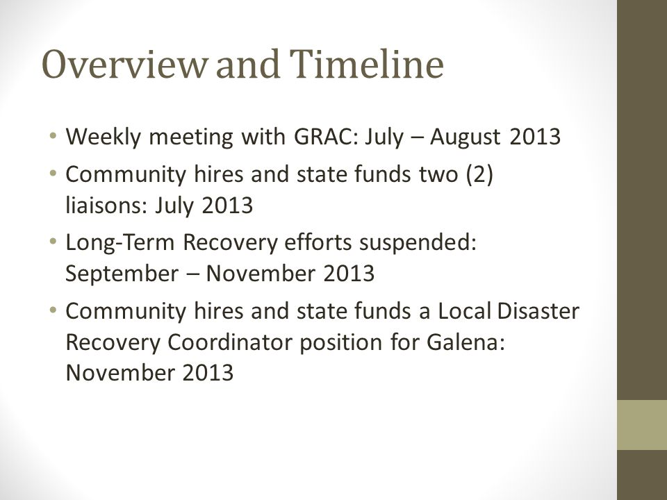 Overview and Timeline Weekly meeting with GRAC: July – August 2013 Community hires and state funds two (2) liaisons: July 2013 Long-Term Recovery effo