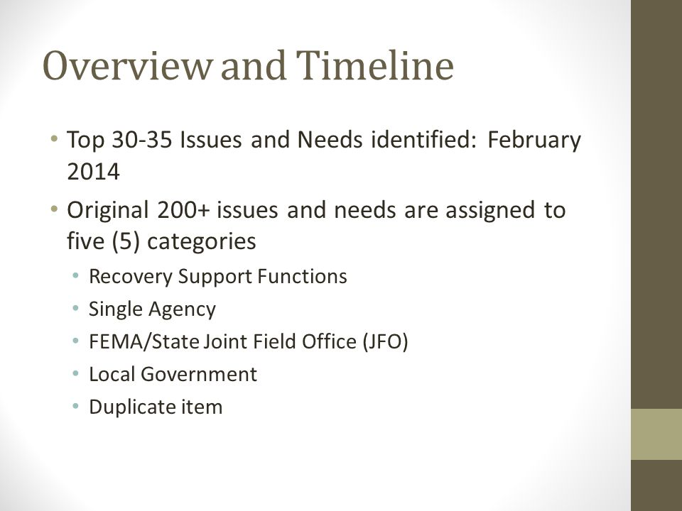 Overview and Timeline Top 30-35 Issues and Needs identified: February 2014 Original 200+ issues and needs are assigned to five (5) categories Recovery Support Functions Single Agency FEMA/State Joint Field Office (JFO) Local Government Duplicate item