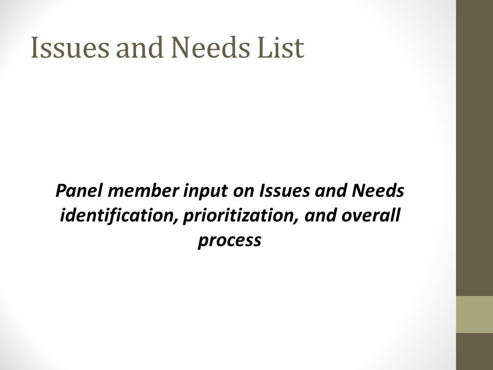 Issues and Needs List Panel member input on Issues and Needs identification, prioritization, and overall process