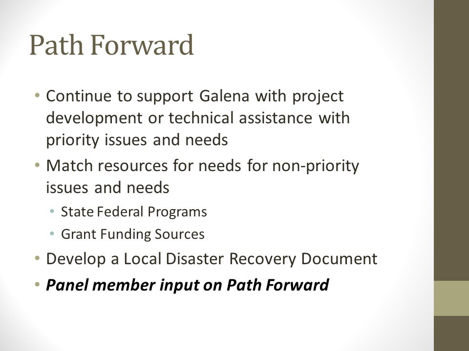 Path Forward Continue to support Galena with project development or technical assistance with priority issues and needs Match resources for needs for non-priority issues and needs State Federal Programs Grant Funding Sources Develop a Local Disaster Recovery Document Panel member input on Path Forward