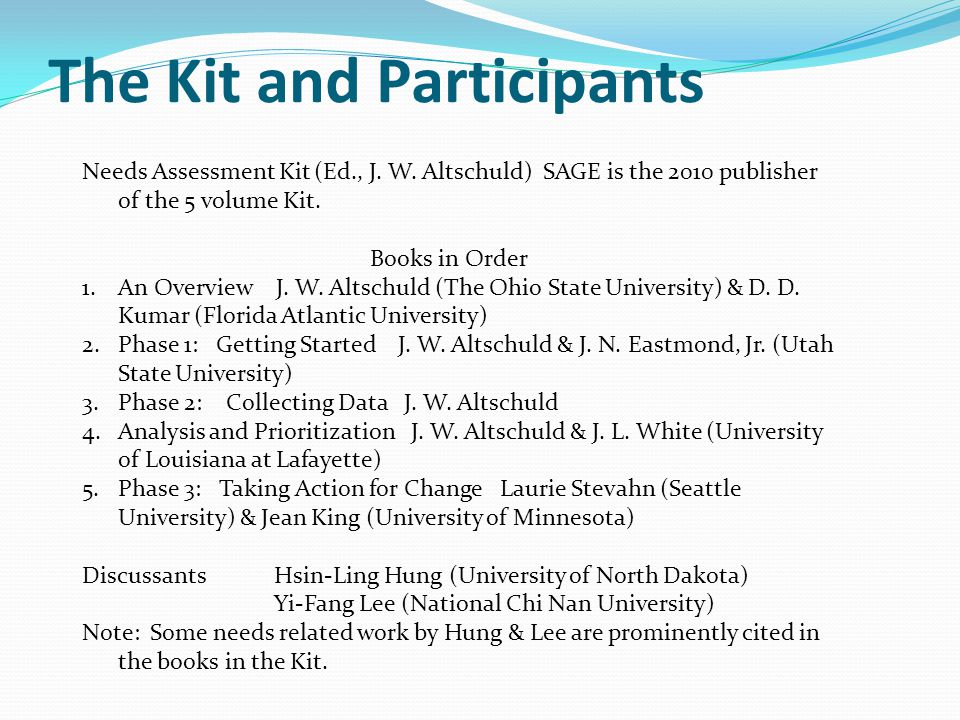 The Kit and Participants Needs Assessment Kit (Ed., J.