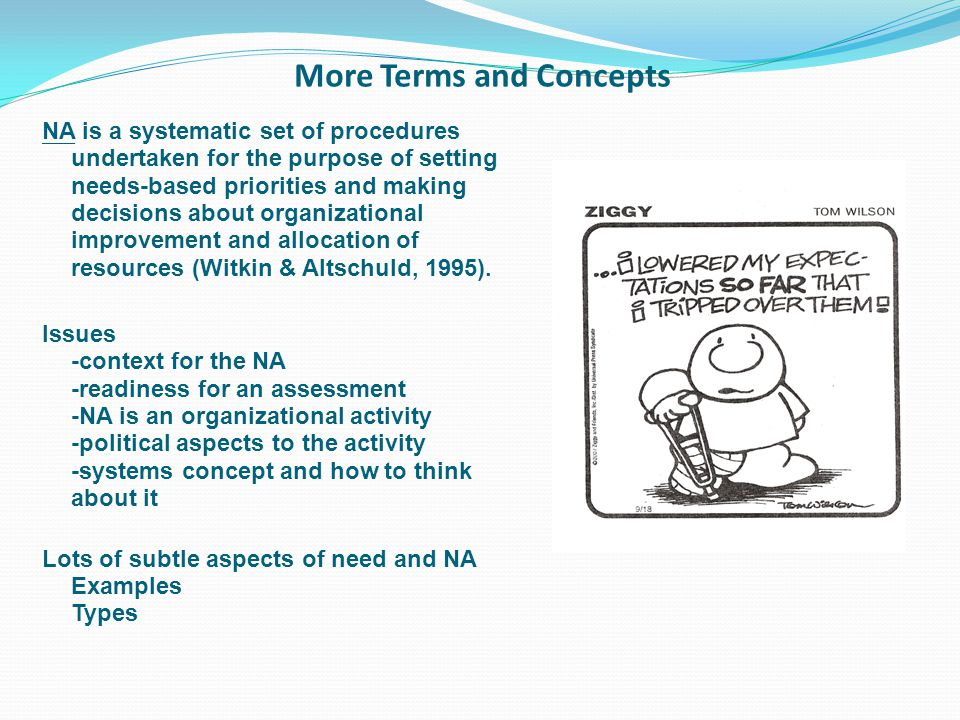 More Terms and Concepts NA is a systematic set of procedures undertaken for the purpose of setting needs-based priorities and making decisions about organizational improvement and allocation of resources (Witkin & Altschuld, 1995).