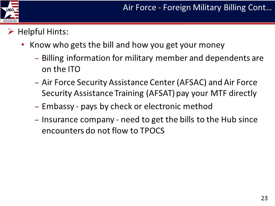 Air Force - Foreign Military Billing Cont… Helpful Hints: Know who gets the bill and how you get your money – Billing information for military member