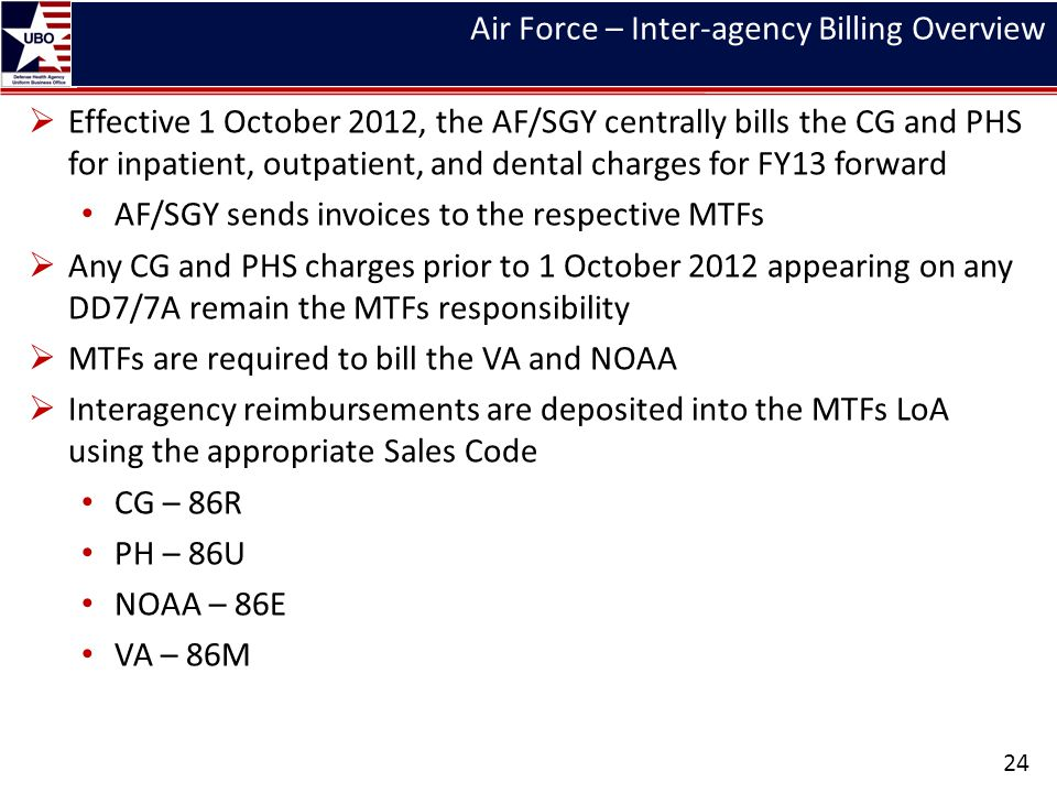 Air Force – Inter-agency Billing Overview Effective 1 October 2012, the AF/SGY centrally bills the CG and PHS for inpatient, outpatient, and dental ch