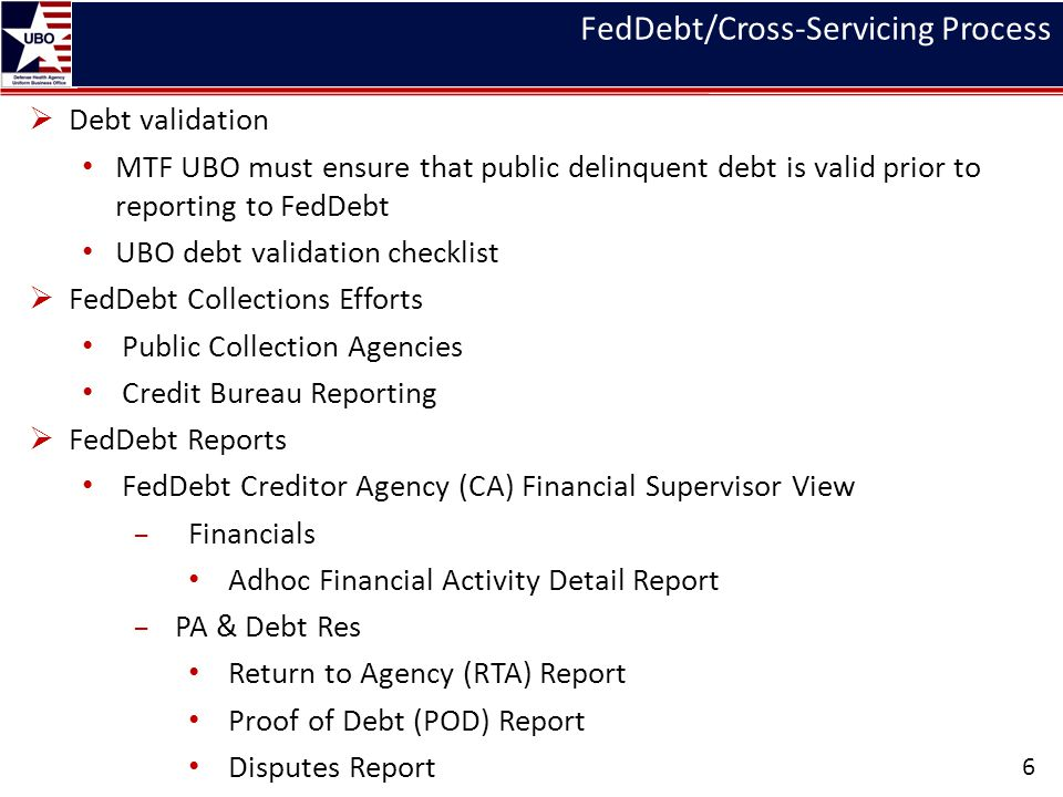FedDebt/Cross-Servicing Process 6 Debt validation MTF UBO must ensure that public delinquent debt is valid prior to reporting to FedDebt UBO debt vali