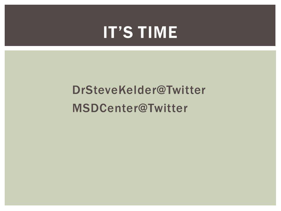 ITS TIME DrSteveKelder@Twitter MSDCenter@Twitter