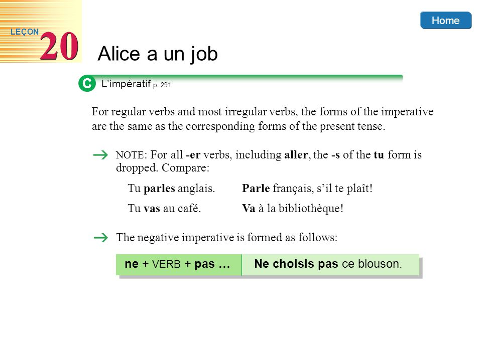 Home Alice a un job 20 LEÇON For regular verbs and most irregular verbs, the forms of the imperative are the same as the corresponding forms of the pr
