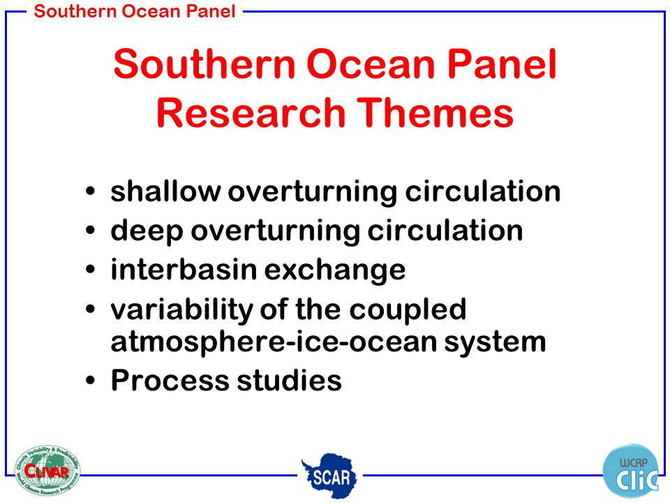 Southern Ocean Panel Southern Ocean Panel Research Themes shallow overturning circulation deep overturning circulation interbasin exchange variability