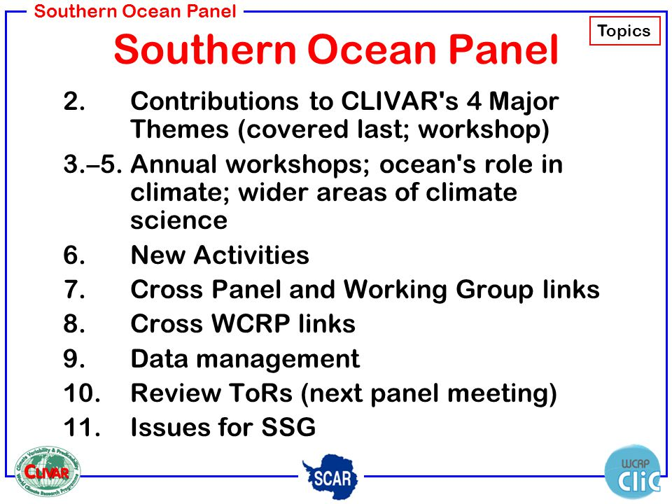 Southern Ocean Panel 2.Contributions to CLIVAR's 4 Major Themes (covered last; workshop) 3.–5.Annual workshops; ocean's role in climate; wider areas o