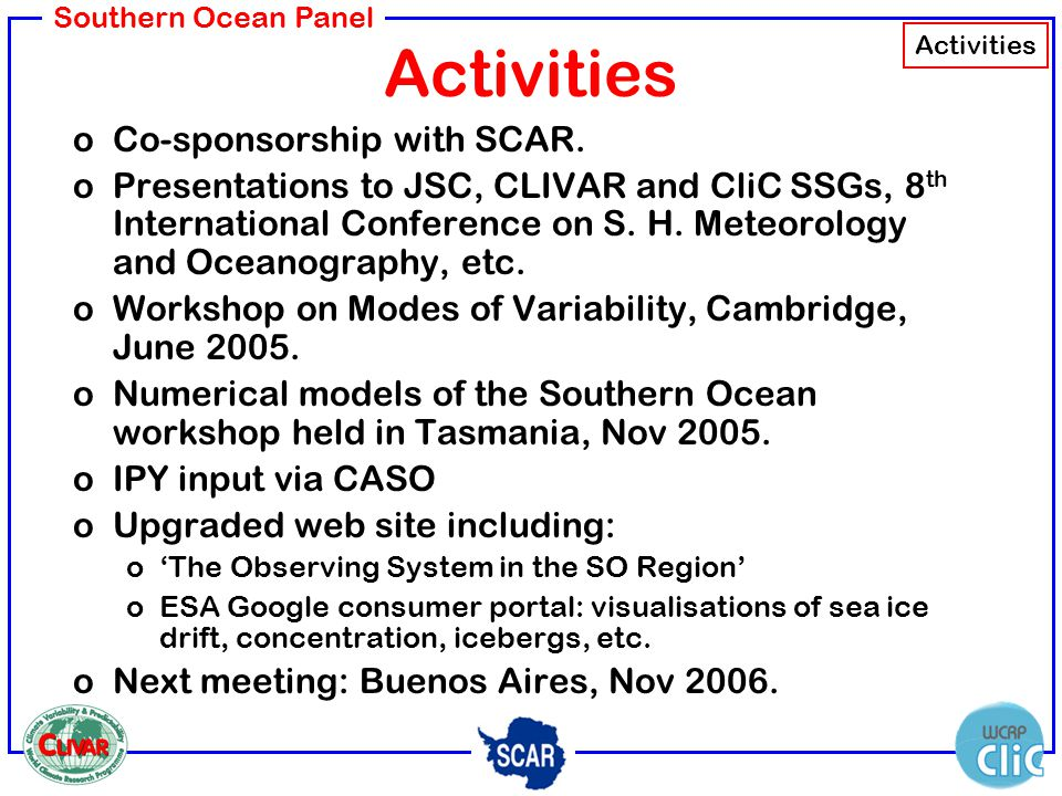Southern Ocean Panel Activities oCo-sponsorship with SCAR. oPresentations to JSC, CLIVAR and CliC SSGs, 8 th International Conference on S. H. Meteoro