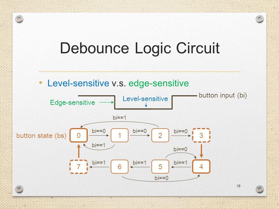 Debounce Logic Circuit Level-sensitive v.s. edge-sensitive 18 Edge-sensitive Level-sensitive 0 12 3 7 65 4 button input (bi) button state (bs) bi==0 b