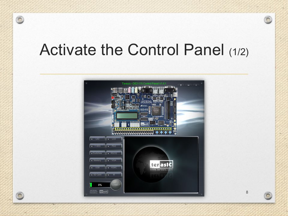 Activate the Control Panel (1/2) 8