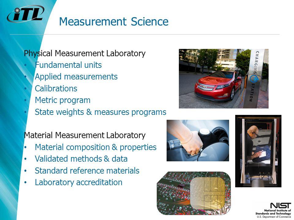 Measurement Science Physical Measurement Laboratory Fundamental units Applied measurements Calibrations Metric program State weights & measures progra