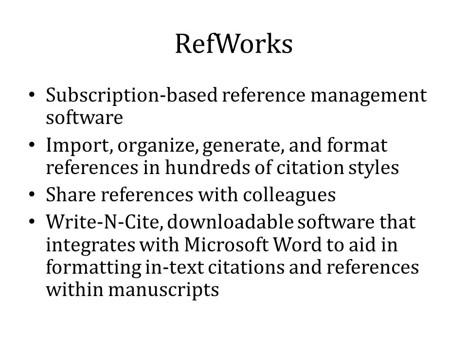 RefWorks Interface