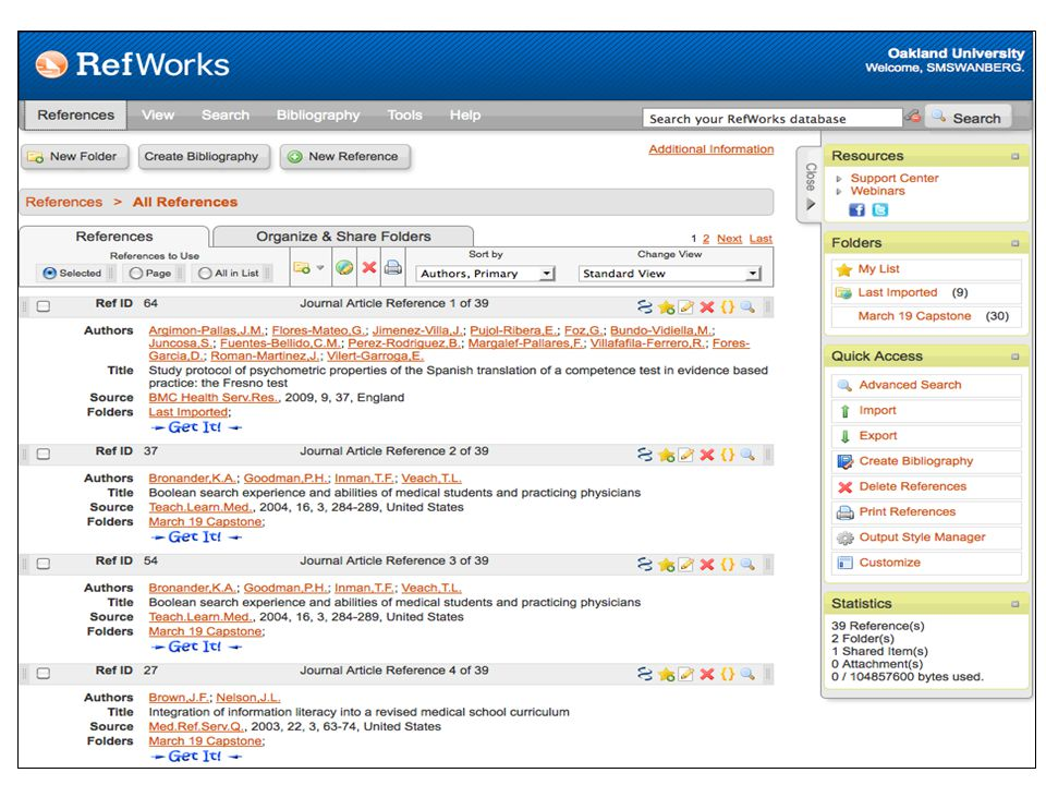 Importing PubMed Citations into RefWorks Method 1: Copy/Paste – Conduct your search in PubMed – Check the citations you wish to export to RefWorks – Go to Display Settings > select MEDLINE > click Apply – Select all > copy the entire selection – Open RefWorks in a separate window and login if necessary – Go to References > Import > From Text – Select NLM PubMed from the dropdown menu under Import Filter/Data Source – Paste your copied MEDLINE text into the textbox – If applicable, select or create a folder for your citations in Import into Folder – Click Import