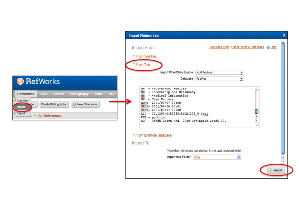 Importing PubMed Citations into RefWorks Method 2: Save File – Conduct your search in PubMed – Check the citations you wish to export to RefWorks – Go to Send to > Citation Manager > Create File.