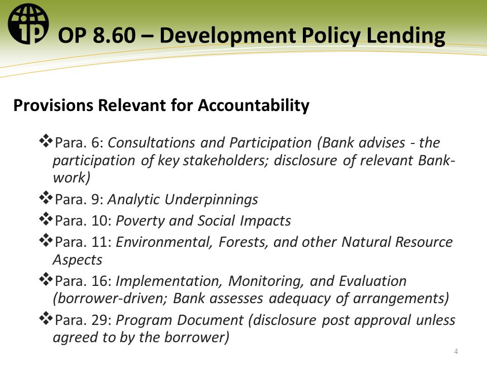 OP 8.60 – Development Policy Lending Provisions Relevant for Accountability Para.