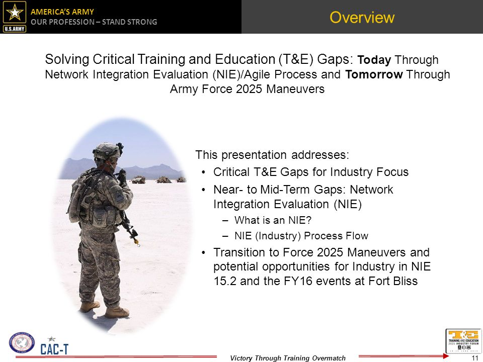 AMERICAS ARMY OUR PROFESSION – STAND STRONG Victory Through Training Overmatch CAC-T Overview Solving Critical Training and Education (T&E) Gaps: Today Through Network Integration Evaluation (NIE)/Agile Process and Tomorrow Through Army Force 2025 Maneuvers This presentation addresses: Critical T&E Gaps for Industry Focus Near- to Mid-Term Gaps: Network Integration Evaluation (NIE) –What is an NIE.