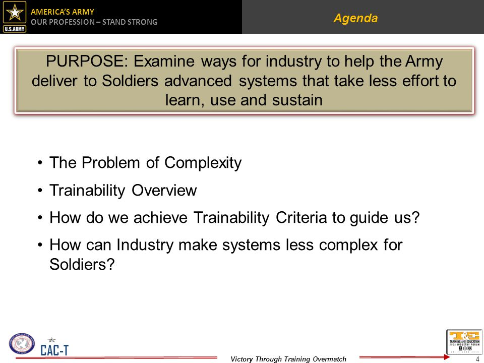 AMERICAS ARMY OUR PROFESSION – STAND STRONG Victory Through Training Overmatch CAC-T Agenda The Problem of Complexity Trainability Overview How do we achieve Trainability Criteria to guide us.