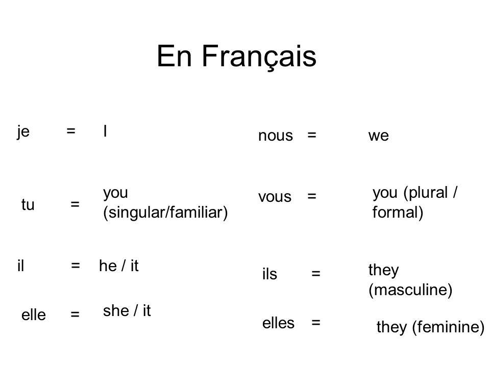 En Français Ije= you (singular/familiar) tu= he / itil = she / it elle = wenous= you (plural / formal) vous= they (masculine) ils= they (feminine) ell
