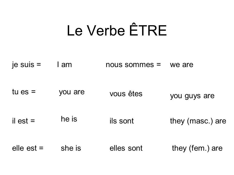 Le Verbe ÊTRE I amje suis = you aretu es = he is il est = she iselle est = we arenous sommes = you guys are vous êtes they (masc.) areils sont they (f