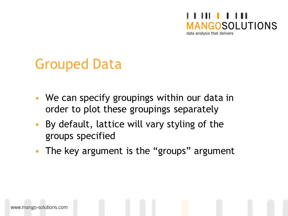 We can specify groupings within our data in order to plot these groupings separately By default, lattice will vary styling of the groups specified The