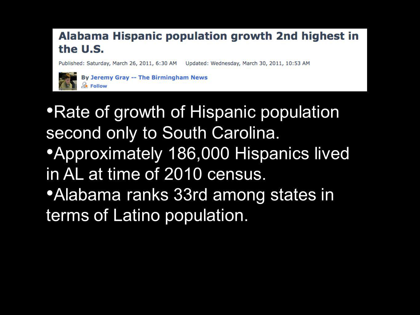 Rate of growth of Hispanic population second only to South Carolina.