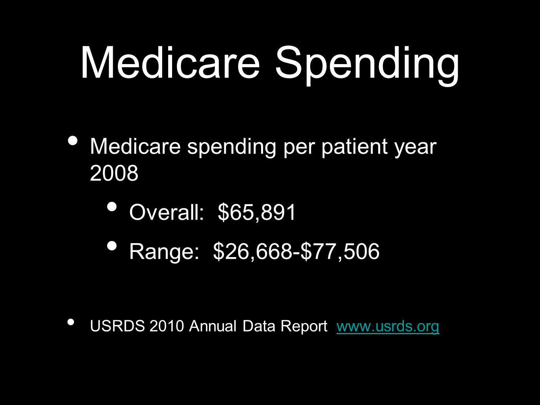 Medicare Spending Medicare spending per patient year 2008 Overall: $65,891 Range: $26,668-$77,506 USRDS 2010 Annual Data Report www.usrds.orgwww.usrds.org