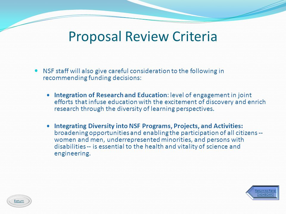 NSF staff will also give careful consideration to the following in recommending funding decisions: Integration of Research and Education: level of eng