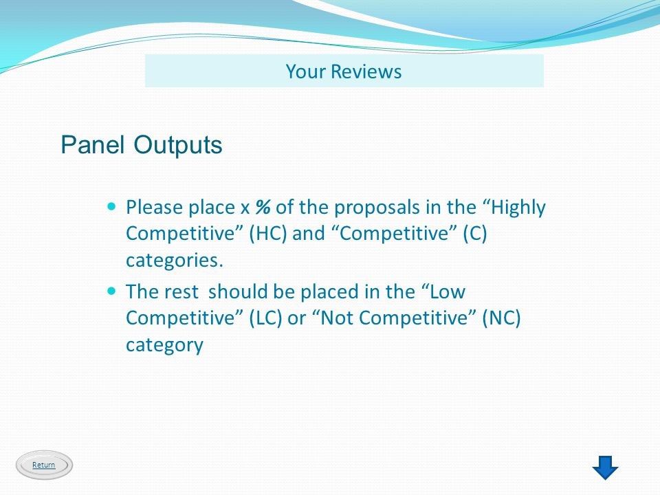 Panel Outputs Please place x % of the proposals in the Highly Competitive (HC) and Competitive (C) categories. The rest should be placed in the Low Co