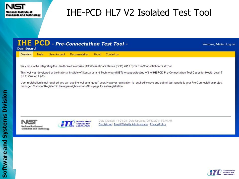 Software and Systems Division IHE-PCD HL7 V2 Isolated Test Tool