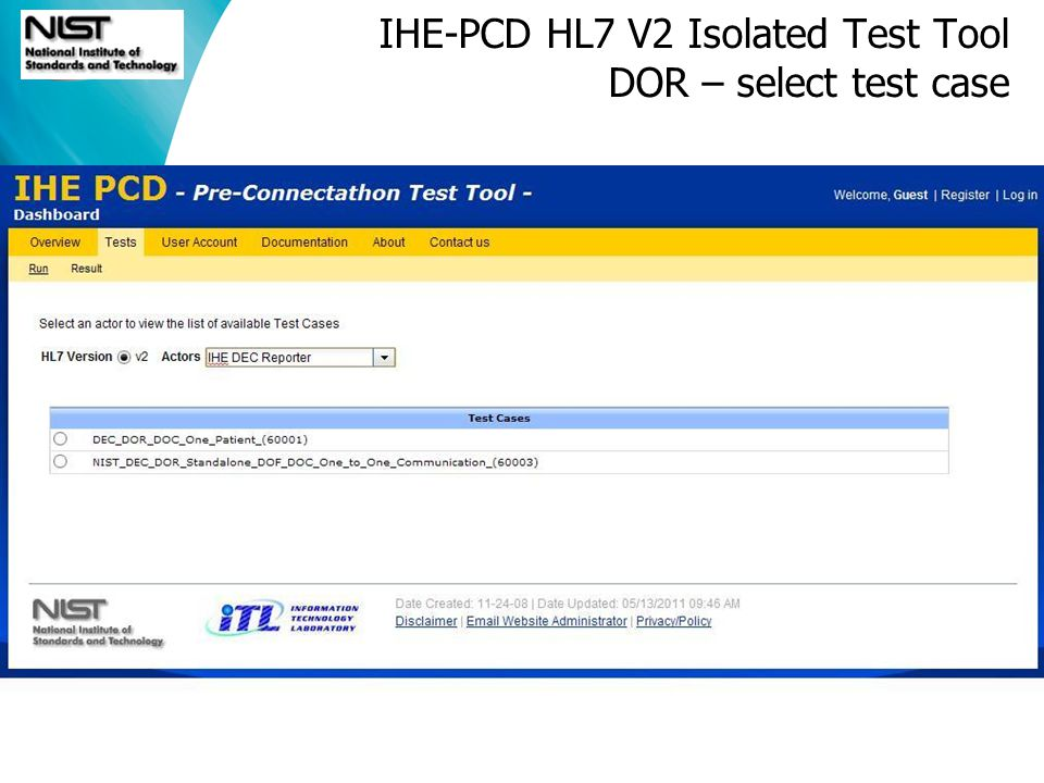 Software and Systems Division IHE-PCD HL7 V2 Isolated Test Tool DOR – select test case