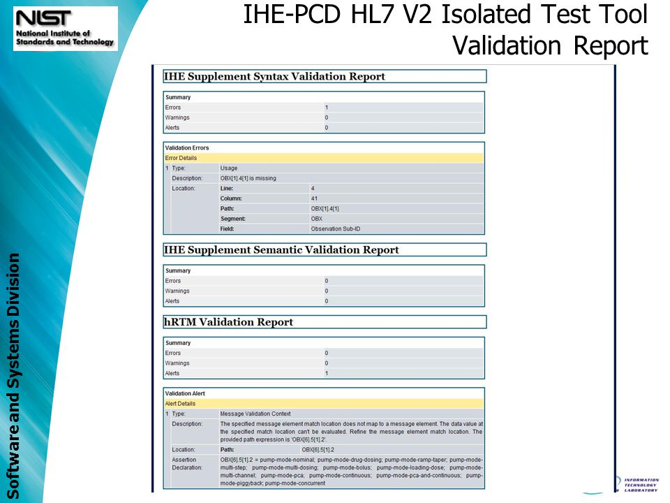Software and Systems Division IHE-PCD HL7 V2 Isolated Test Tool Validation Report