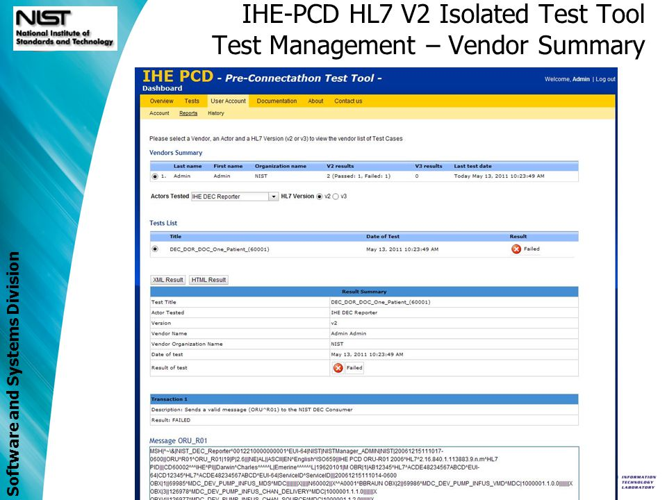 Software and Systems Division IHE-PCD HL7 V2 Isolated Test Tool Test Management – Vendor Summary