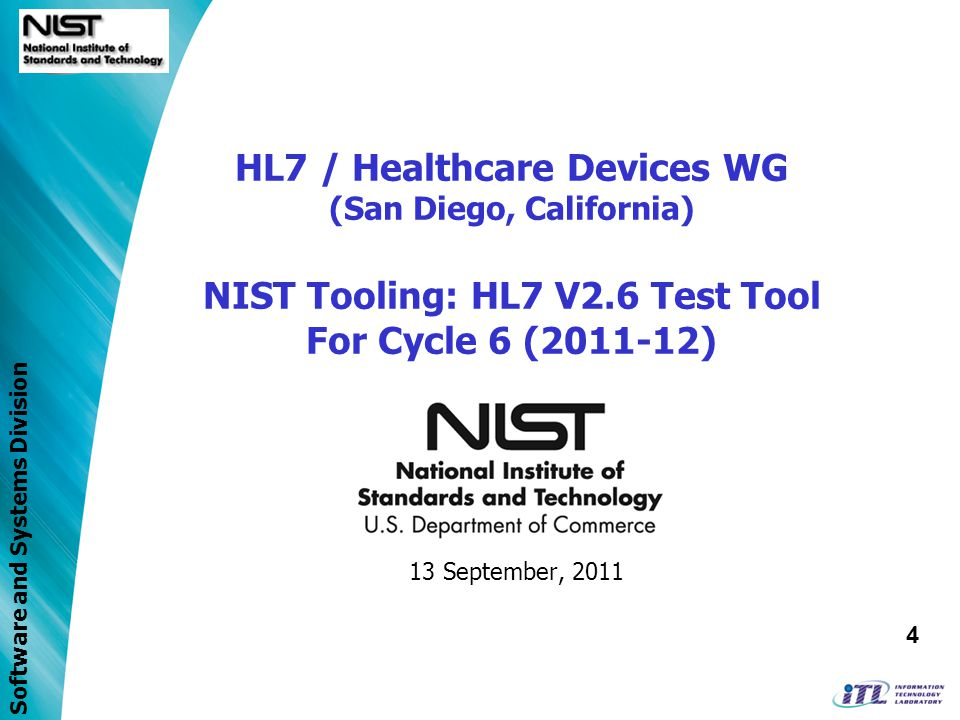 Software and Systems Division Access to NIST IEEE 11073 Nomenclature database –Appendix A terms –Appendix B terms –IDCO terms –PHD terms Access to RTM database Ability to proposed terms in Rosetta Download in XML format hRTM, units and enumerations tables User registration –Email confirmation, approval… Filtering based on regular expressions Rosetta validation against hRTM Management capabilities for SDO users RTMMS Features