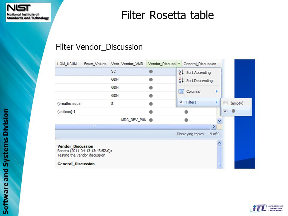 Software and Systems Division Filter Rosetta table Filter Vendor_Discussion