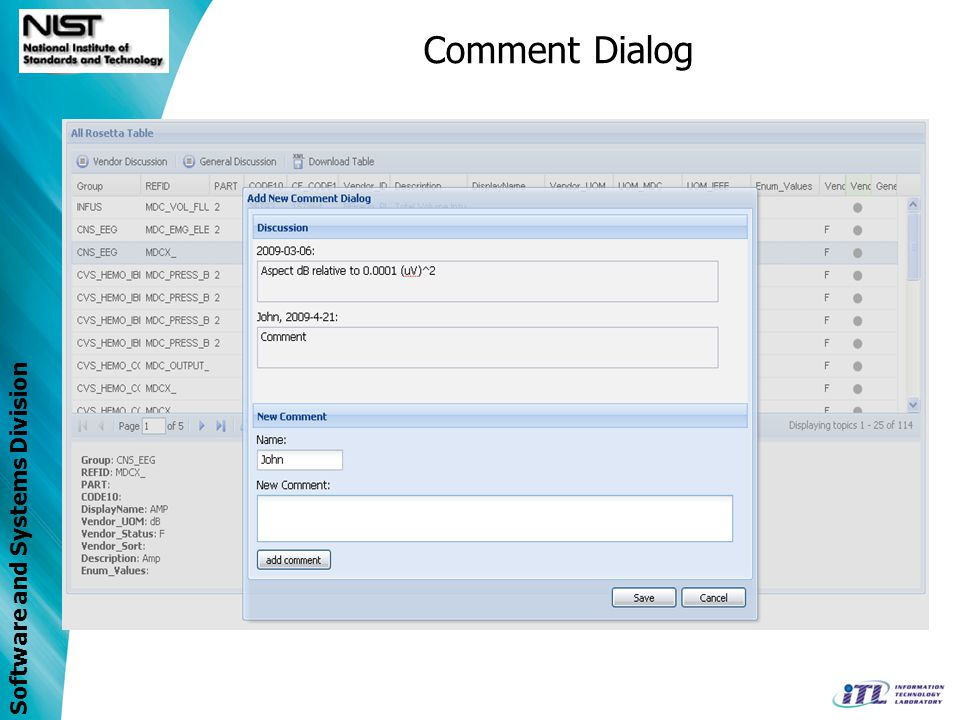 Software and Systems Division Comment Dialog