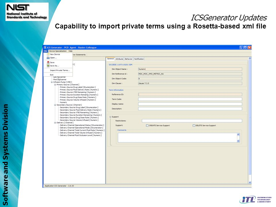 Software and Systems Division ICSGenerator Updates Capability to import private terms using a Rosetta-based xml file