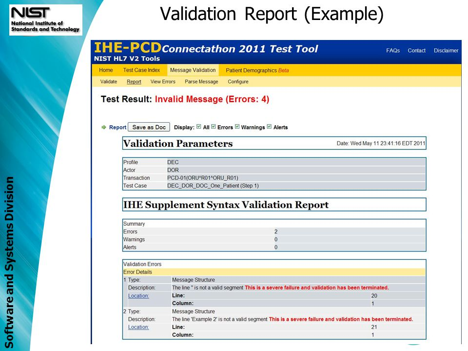 Software and Systems Division Validation Report (Example)
