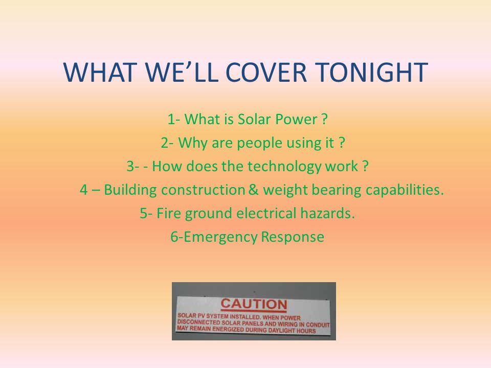 FIREFIGHTER SOLAR POWER SAFETY AWARENESS TRAINING