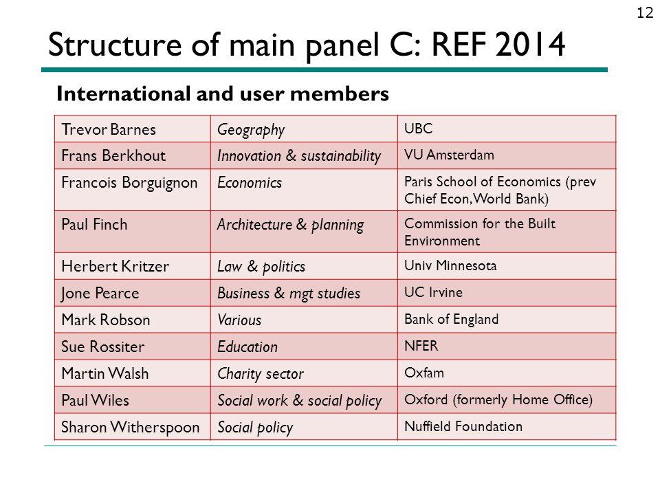 Structure of main panel C: REF 2014 12 Trevor BarnesGeography UBC Frans BerkhoutInnovation & sustainability VU Amsterdam Francois BorguignonEconomics