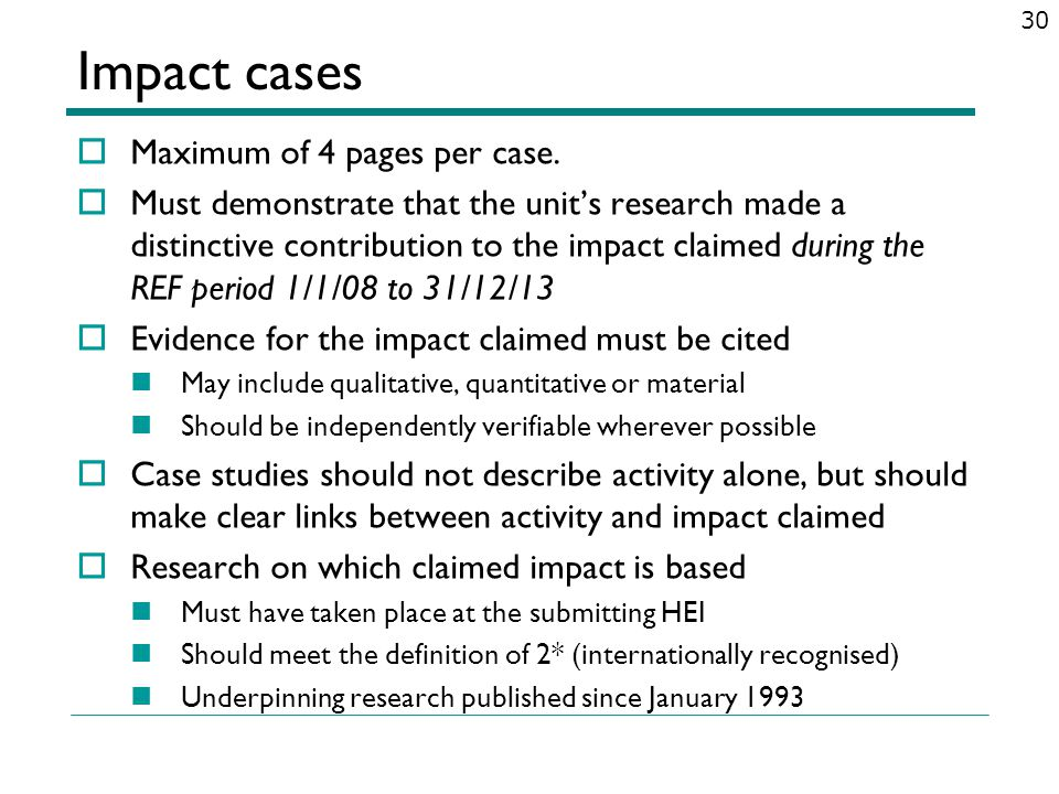 Maximum of 4 pages per case. Must demonstrate that the units research made a distinctive contribution to the impact claimed during the REF period 1/1/