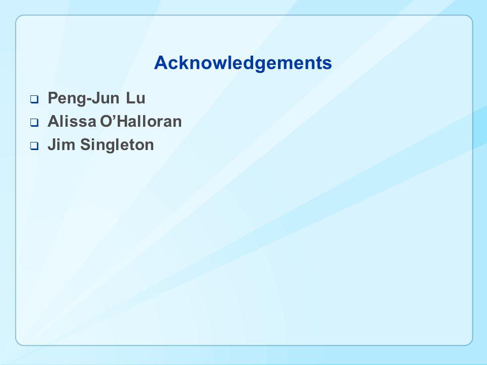 Acknowledgements Peng-Jun Lu Alissa OHalloran Jim Singleton