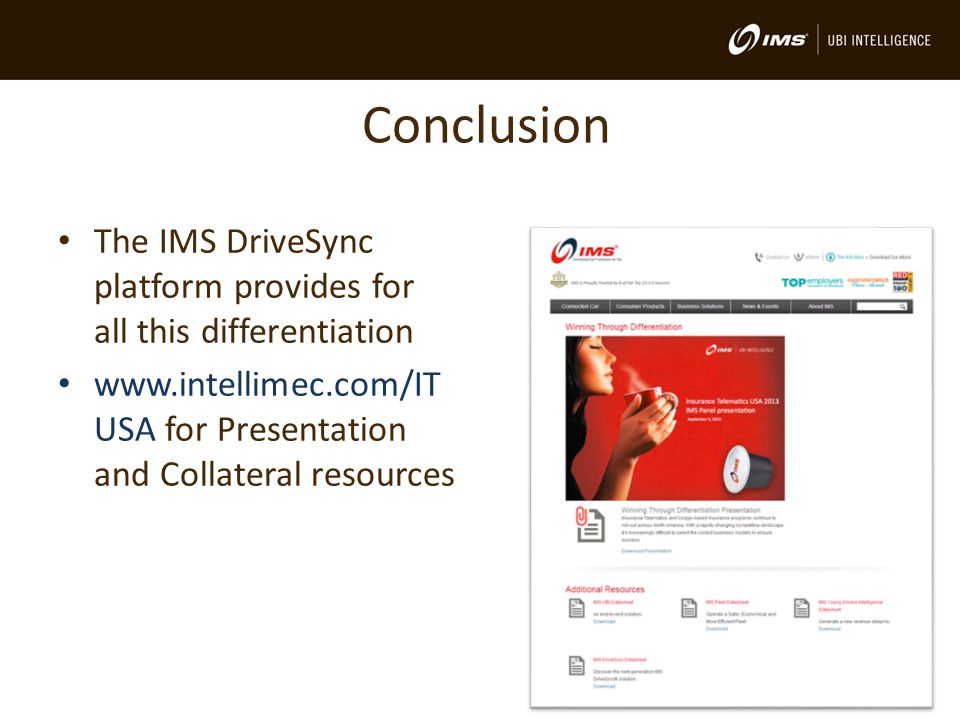 Conclusion The IMS DriveSync platform provides for all this differentiation www.intellimec.com/IT USA for Presentation and Collateral resources