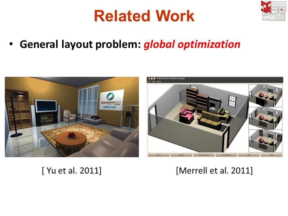 Related Work General layout problem: global optimization [ Yu et al. 2011][Merrell et al. 2011]