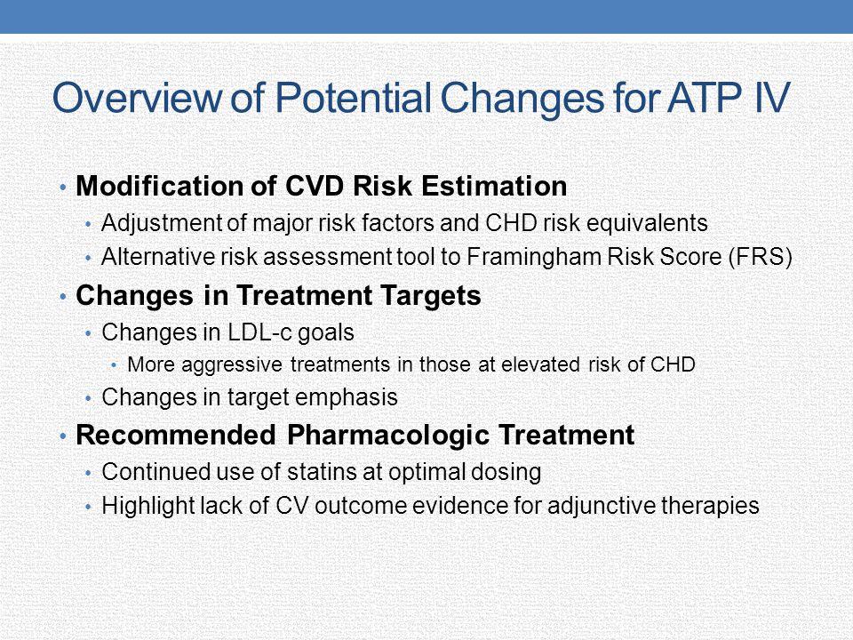 Overview of Potential Changes for ATP IV Modification of CVD Risk Estimation Adjustment of major risk factors and CHD risk equivalents Alternative ris